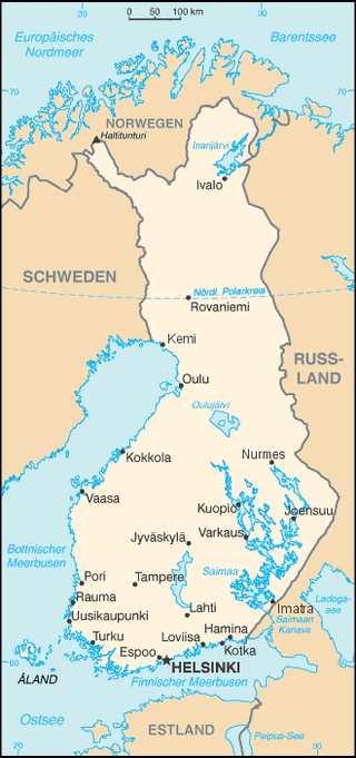 Karte Finnland, Europa