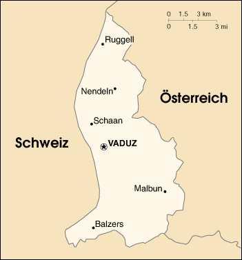 Liechtenstein, Karte