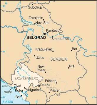 Serbien & Montenegro - Karte